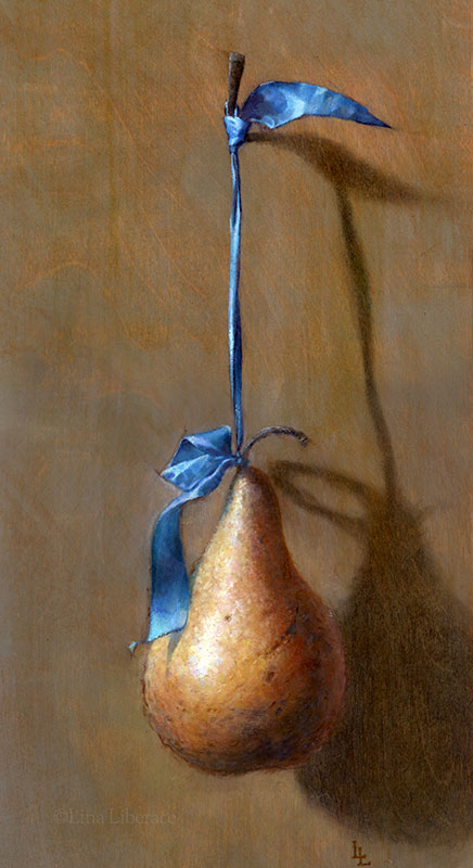 Pear on Ribbon, oil on panel, 7x14 in.